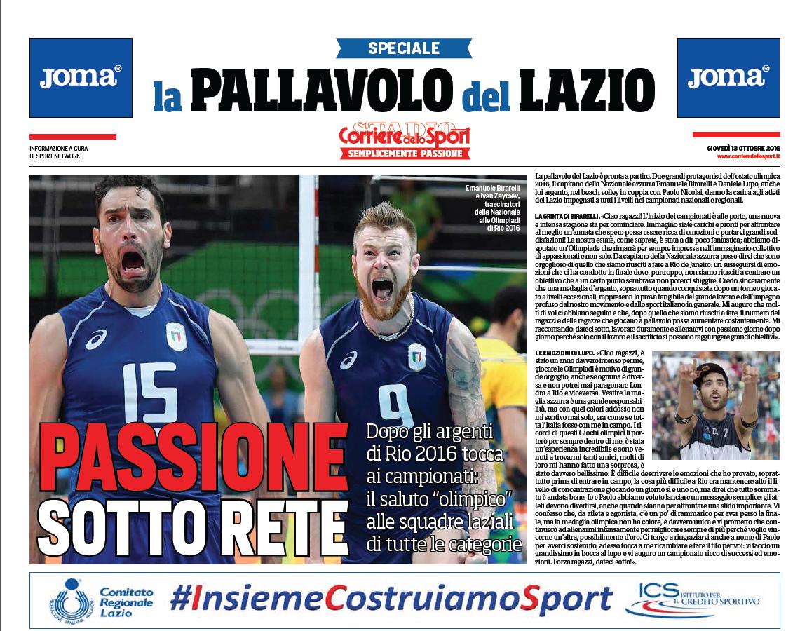 La Pallavolo Di Roma E Del Lazio Sul Corriere Dello Sport